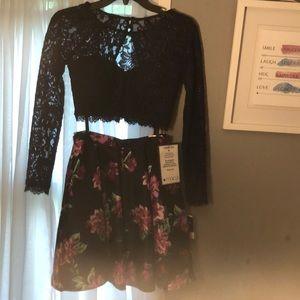 navy blue 2 piece dress